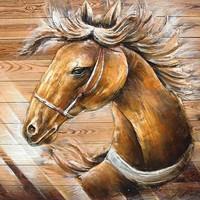 Gemälde 3D-Holz 91x91cm Pony