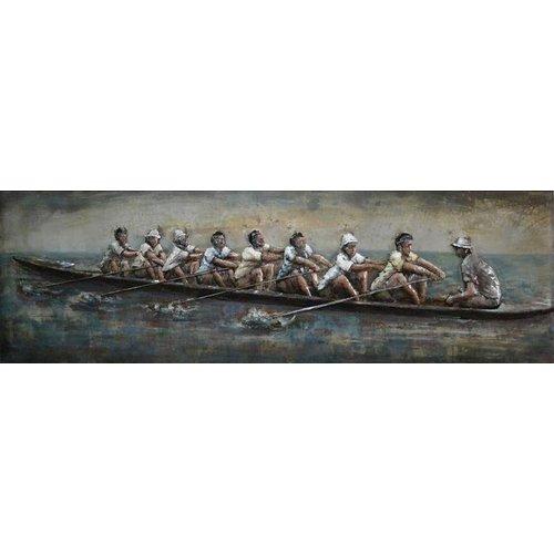 Eliassen 3D schilderij metaal 60x180cm Roeiers