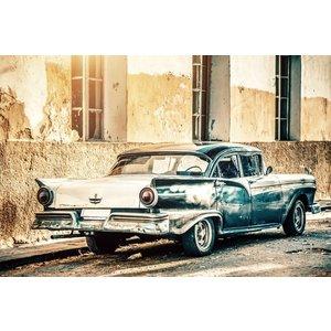 Ter Halle Glasschilderij Blue car 80 x 120 cm.