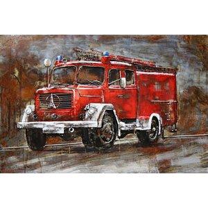 Painting 3d metal 80x120cm Fire brigade