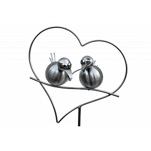 Garden plug stainless steel 2 birds in heart