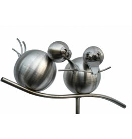 Garden plug stainless steel 2 birds on branch