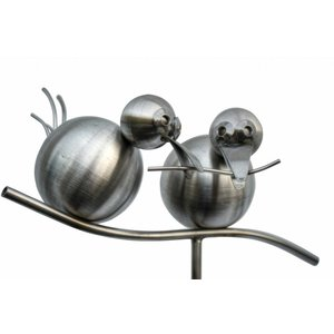 Garden plug stainless steel 2 birds on branch