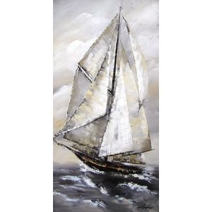 Eliassen Olieverf schilderij Ruige zee 164x84cm