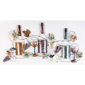 Eliassen Metalen muurdecoratie Wijnfles met wijnglas