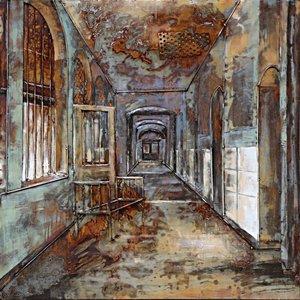 Eliassen Schilderij ijzer 3D 100x100cm Klooster
