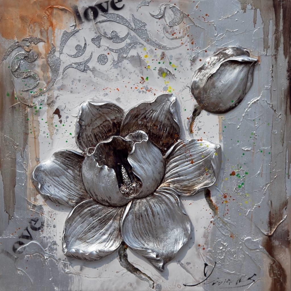 Eliassen 3D schilderij canvas 80x80cm Bloem zilver