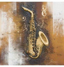 Eliassen 3D Gemälde Leinwand 80x80cm Saxophon