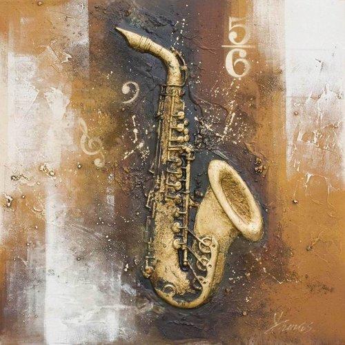 Eliassen 3D schilderij canvas 80x80cm Saxofoon