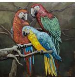Eliassen Metalen 3d schilderij Papagaaien 100x100cm