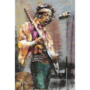 schilderij metaal  Jimmy hendrix