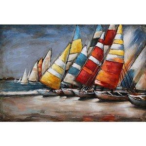 Eliassen Schilderij metaal 3d 80x60cm Boten op het strand