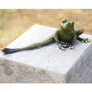 Eliassen Image bronze frog with outstretched leg