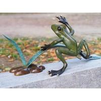 Beeld brons kikker in het riet spuitfiguur