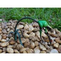Bronzen beeld groene kikker aan twijg