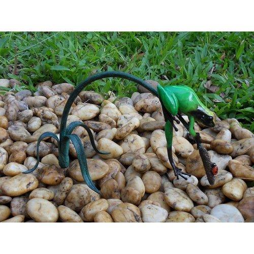 Eliassen Bronzen beeld groene kikker aan twijg