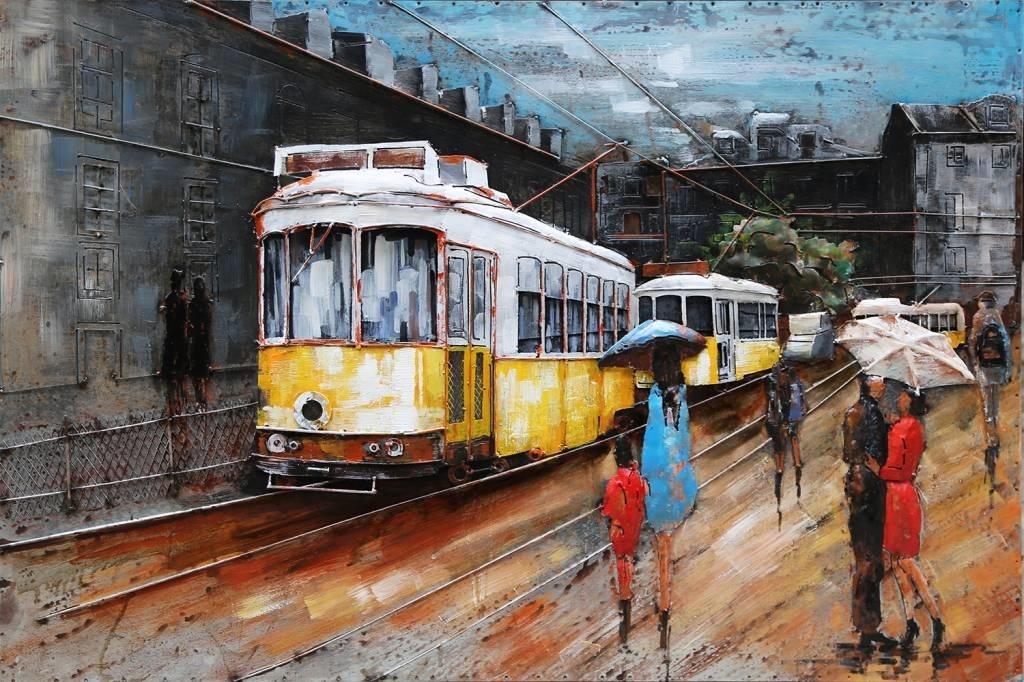 Eliassen 3D Gemälde Metall 80x120cm Straßenbahnhaltestelle