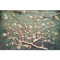 3D schilderij metaal 80x120cm Amandelbloesem