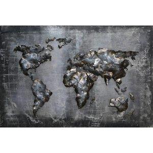 Eliassen 3D painting metal 80x120cm World map black