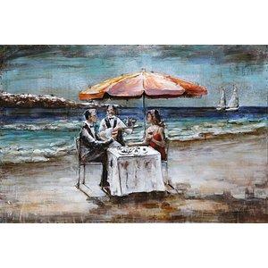 Eliassen 3D schilderij metaal 80x120cm Diner op strand