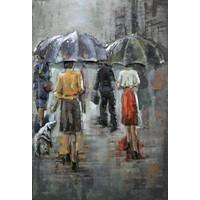 Malerei 3D Metall Regen Szene 80x120cm