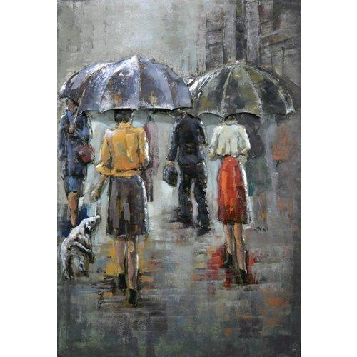 Painting 3D metal Rain scene 80x120cm