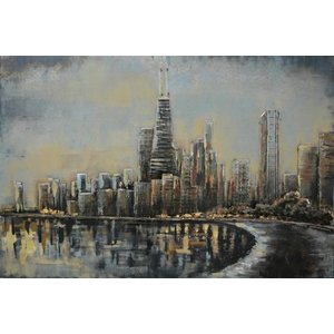 Malerei 3D Metall Skyline 80x120cm