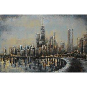Schilderij 3D metaal skyline 80x120cm