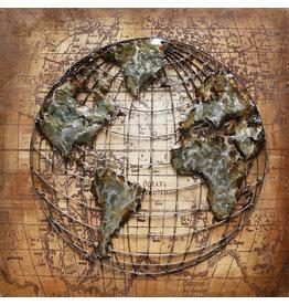 Painting 3D metal Globe 100x100cm