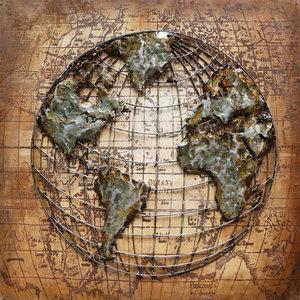 Schilderij 3D metaal Globe 100x100cm