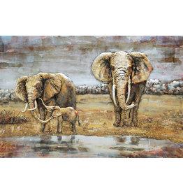 Schilderij 3D metaal Olifanten Familie 80x120cm