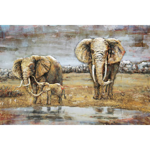 Painting 3D metal Elephants Family 80x120cm
