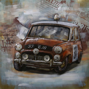 Painting 3D metal Rally Mini 100x100cm