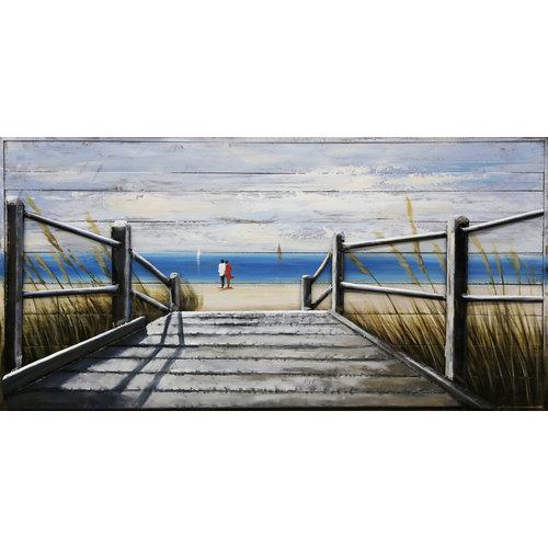 Schilderij 3D metaal-hout Naar het strand 70x140cm