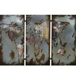Painting 3D metal 3-part World map 150x100cm