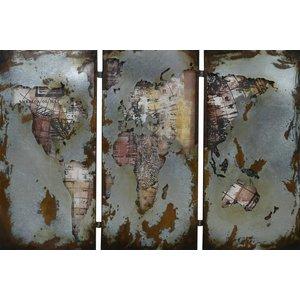 Schilderij 3D metaal 3-luik Wereldkaart 150x100cm