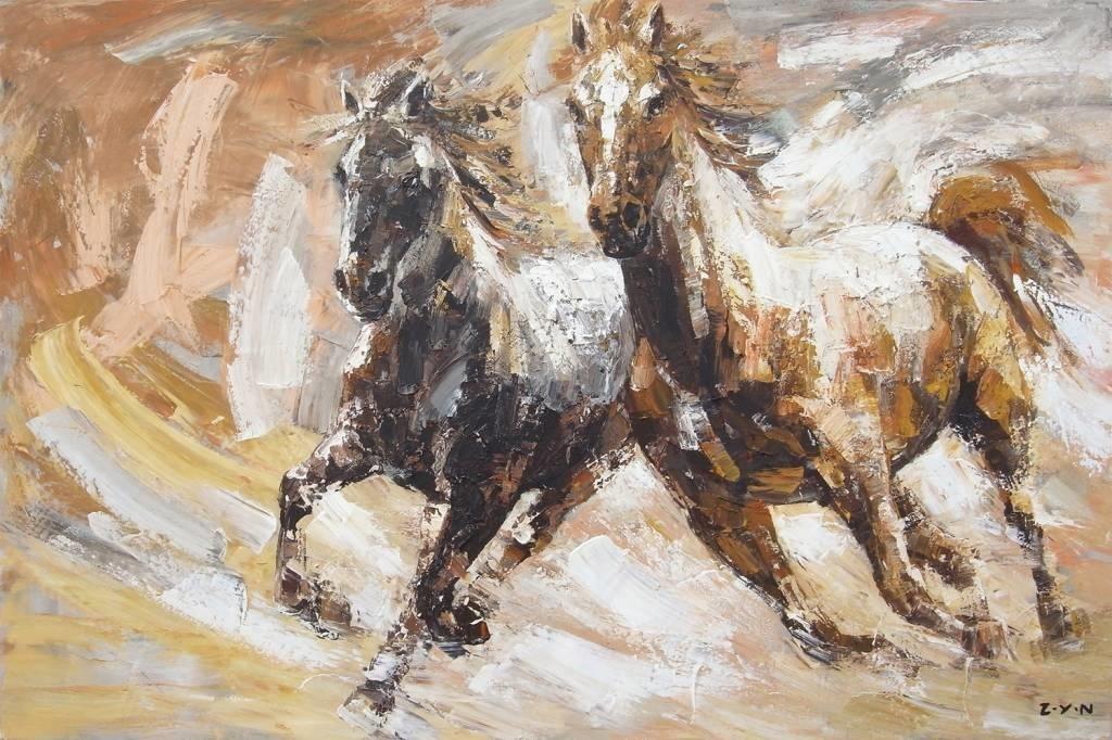 Verwonderend Olieverf schilderij 100x150cm Paarden - Eliassen Home & Garden MY-66