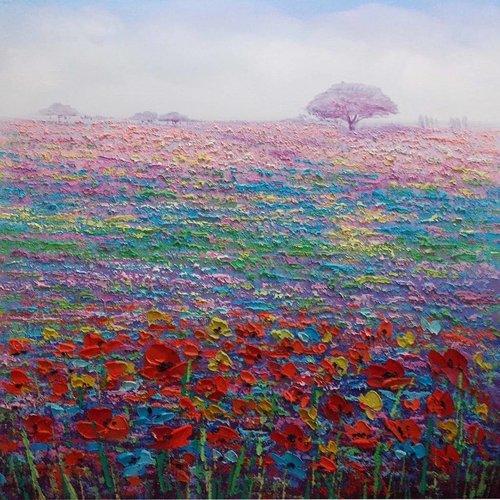 Oil painting 100x100cm Auvergne