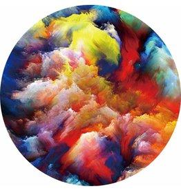 Gave Glas schilderij rond Kleurrijk diameter 80cm