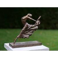 Bronzestatue sitzend Ballerina Bein nach hinten