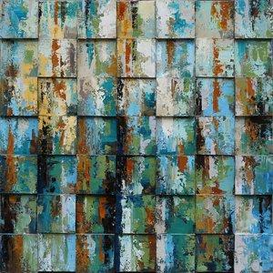 Eliassen Öl auf Leinwand Gemälde 100x100cm Blöcke