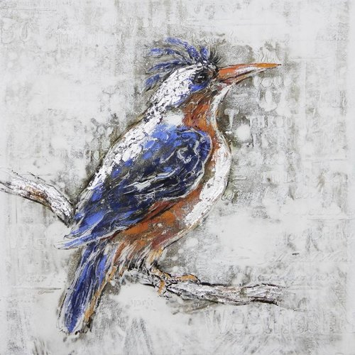 Canvas painting 80x80cm Kingfisher