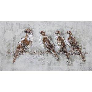 Wandbild auf Leinwand 70x140cm vier Spatzen
