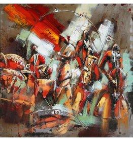 Metalen 3d schilderij 100x100cm Orkest