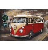 Eliassen 3D schilderij metaal 120x80cm VW bus rood met verkeersbord