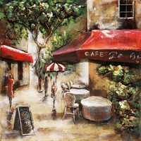 3D painting metal 100x100cm Paris Cafe 3