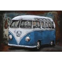 3D Lackierung Metall 60x40cm VW Bus blau