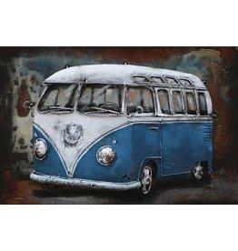 Eliassen 3D schilderij metaal 60x40cm VW bus blauw
