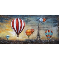 3D painting metal 140x70cm Balloons Above Paris