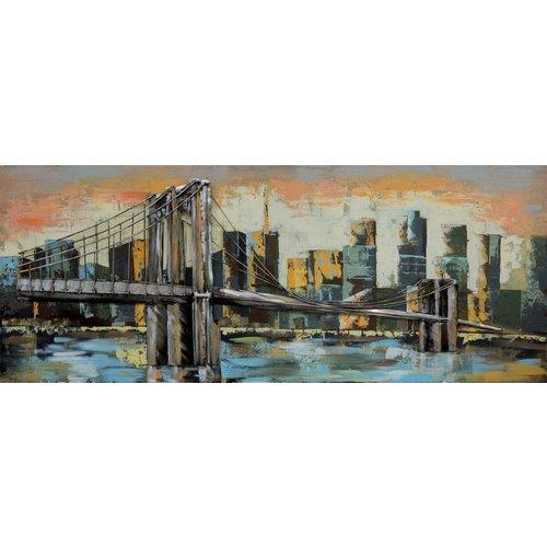 Gave Schilderij 3d metaal 60x150cm Brooklynn bridge